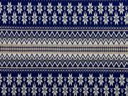RESTSTÜCK 97 cm Strickstoff Norwegermuster, beige dunkelblau
