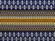 Strickstoff Norwegermuster, ocker dunkelblau