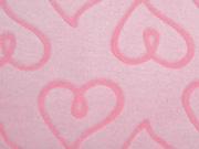 Wellnessfleece geprägte Herzen, rosa