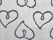 RESTSTÜCK 34 cm Wellnessfleece geprägte Herzen, hellgrau