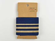 Fertigbündchen Glitzer Streifen, gold dunkelblau