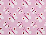 Jerseystoff Schmetterlinge Herzen, rosa
