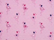 Jerseystoff Flamingos Punkte Herzen, rosa