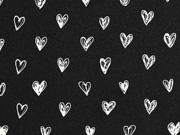 Jersey Herzen, weiss auf schwarz