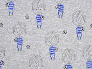 RESTSTÜCK 30 cm Jersey Fussballer Glitzerdruck, grau melange blau