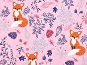 Dekostoff Füchse Blätter, rosa