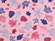 Dekostoff Blätter, rosa
