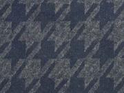 Jacquard Jersey angeraut Hahnentritt, dunkelblau melange