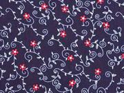 Baumwollstoff Blumenranken Trachtenlook, dunkelblau