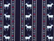Baumwollstoff Bordüre Hirsche Trachtenlook, dunkelblau