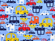 Baumwollstoff Autos, hellblau