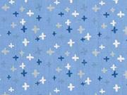Baumwollstoff kleine Kreuze, rauchblau