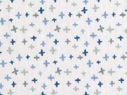 Baumwollstoff kleine Kreuze, blau auf weiß