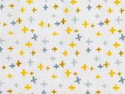 Baumwollstoff kleine Kreuze, ocker auf weiß