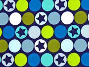 RESTSTÜCK 25 cm Softshell StoffPunkte Sterne, dunkelblau