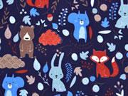 Softshell Stoff Waldtiere Laub, dunkelblau