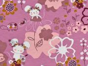 Jersey Blumen Mäuse Schilkröten, dunkles altrosa