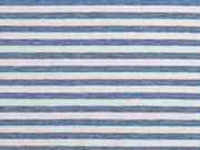 Jersey Streifen garngefärbt angeraut, hellblau melange