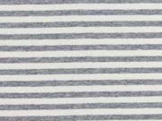 Jersey Streifen garngefärbt angeraut, hellgrau melange