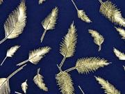 Jersey Federn Gold metallic, dunkelblau