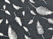 Jersey Federn Silber metallic, anthrazit melange