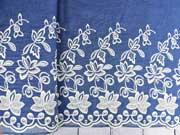 Jeansstoff gestickte Bogenkante Blumen, jeansblau