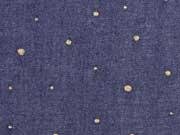 Jeansstoff goldene Glitzerpunkte, dunkles Jeansstoffblau