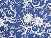 Jeansstoff bestickt Blumenranken, jeansblau