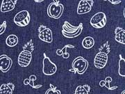 Stretchjeansstoff Früchten, dunkles jeansblau