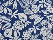 Stretchjeansstoff Palmblätter Farn, jeansblau