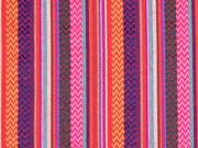 Mexiko Stoff Streifen & Borten Zickzack, rot pink