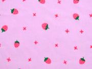 RESTSTÜCK 75 cm Baumwollstoff Voile Erdbeeren, rot grün rosa