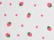 Voile Baumwollstoff Erdbeeren, grün pink weiß