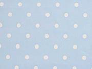 Voile Baumwolle weiße Punkte, hellblau