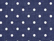 Voile Baumwolle weiße Punkte, dunkelblau