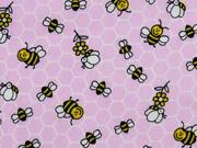 Baumwollstoff Waben Bienen, rosa