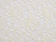 elastischer Spitzenstoff mit Baumwolle Blumen, cremeweiß