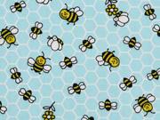 Baumwollstoff Waben Bienen, helltürkis