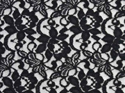 elastische Spitze mit Baumwolle Blumen, schwarz