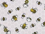 Baumwollstoff Waben Bienen, hellgrau