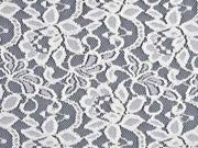 Spitzenstoff mit Baumwolle Blumen elastisch, weiß