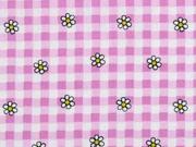 Baumwollstoff Blumen Karomuster, rosa flieder