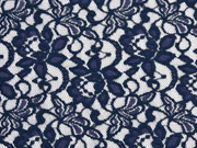 RESTSTÜCK 83 cm elastische Spitze mit Baumwolle Blumen, dunkelblau