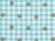 Baumwollstoff Blumen Karomuster, helltürkis mint