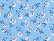 Baumwollstoff Blümchen Blätter, hellblau