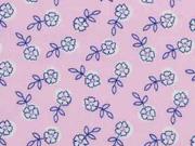 Baumwollstoff Blümchen Blätter, rosa