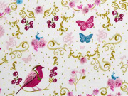 Baumwollstoff Vögel Schmetterlinge Ranken, weiß