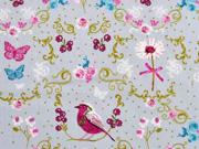 Baumwollstoff Vögel Schmetterlinge Ranken, hellgrau