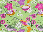 Baumwollstoff Vögel Blumen, hellgrün
