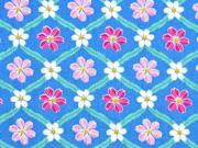 RESTSTÜCK 28 cm Baumwollstoff Blumen Geflecht, blau